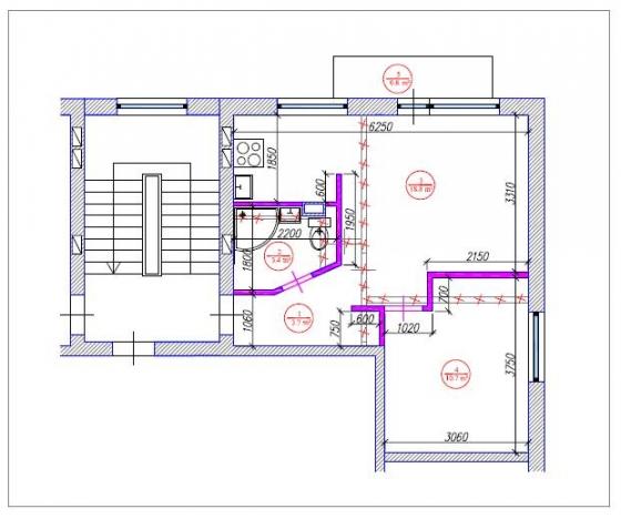 1.5-ist. dzīvokļa pārplānošana 1-467A sērija
