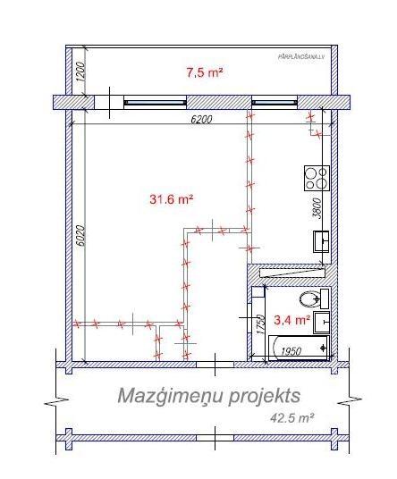 Dzīvokļa pārplānošana / Mazģimeņu projekts