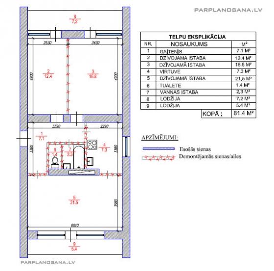 3 ist. dzīvokļa pārplānošana Čehu projektā