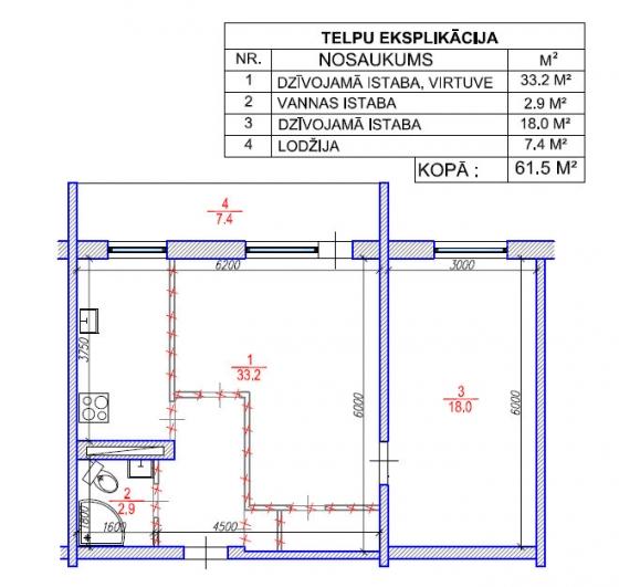 2 ist dzīvokļa pārplānošana / Mazģimeņu projekts