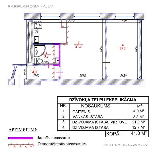 Hruščovka 2-ist. dzīvokļa pārplānošana.