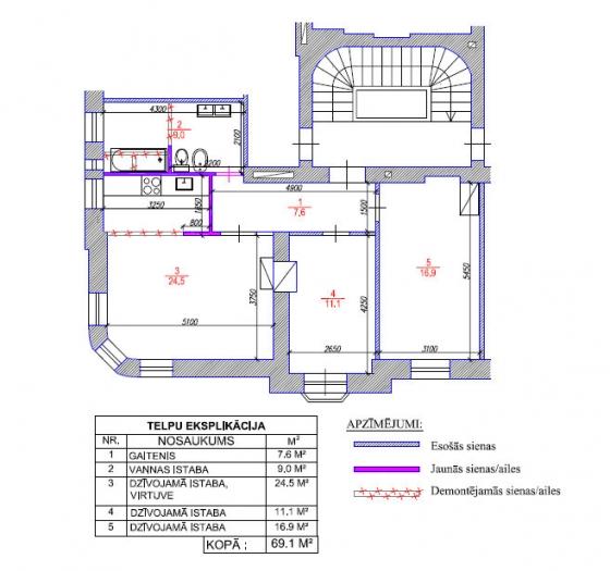 Pirmskara mājas dzīvokļa pārplānošana