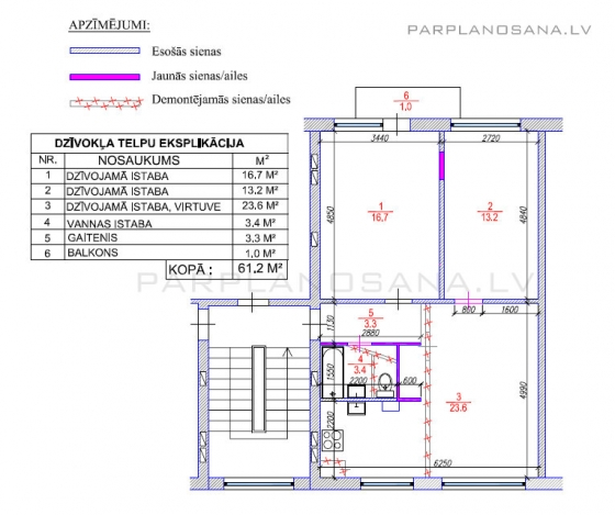 3-ist. dzīvokļa pārplānošana 1-467A sērija