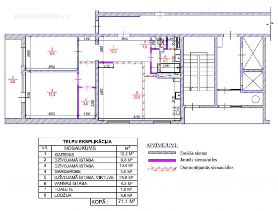 3-ist. dzīvokļa pārplānošana 104. sērija