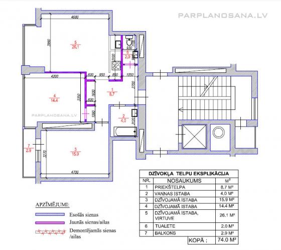 Dzīvokļa pārplānošana / Jaunais projekts Pūces ielā