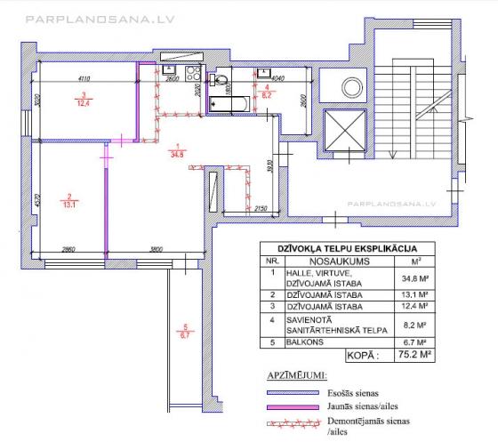 Dzīvokļa pārplānošana / Jaunais projekts
