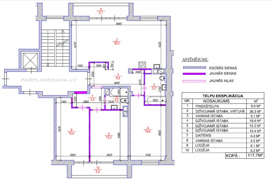 Dzīvokļu apvienošana / Jaunais projekts
