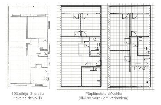 103 sērijas 3 ist. dzīvokļa pārplānošana