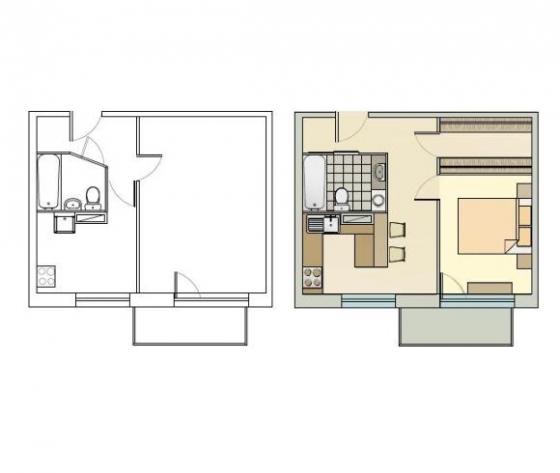 1 istabas dzīvoklis 1-467A.sērija