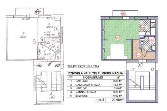1 ist. dzīvoklis 1-467A.sērija (Virtuves pievienošana pie istabas, guļamistabas izveide)