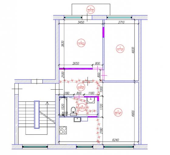 3 istabu dzīvokļa pārplānošana / 1-467a.sērija Vecais lietuviešu projekts