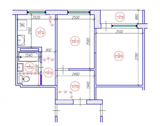 2 istabu dzīvokļa pārplānošana 464. sērija / Jaunais lietuviešu projekts