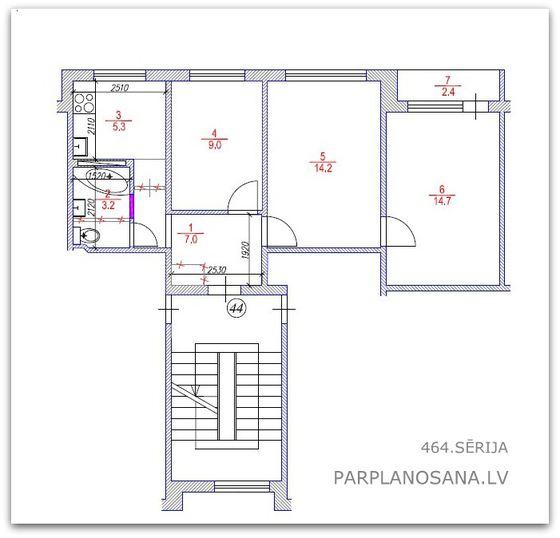 3 istabu dzīvokļa pārplānošana 464. sērija / Jaunais lietuviešu projekts