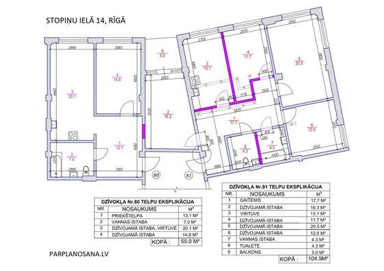 Dzīvokļu pārplānošana - dzīvokļa istabas pievienošana otrām dzīvoklīm Stopiņu ielā 14